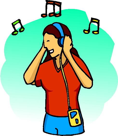 Anime Listening to Music Clip Art