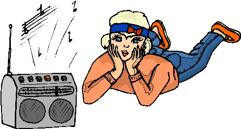Listening to music clip art
