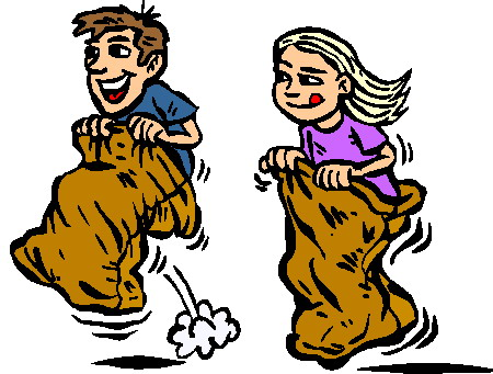 Kids Playing Card Games Clip Art Free sack racing clip art