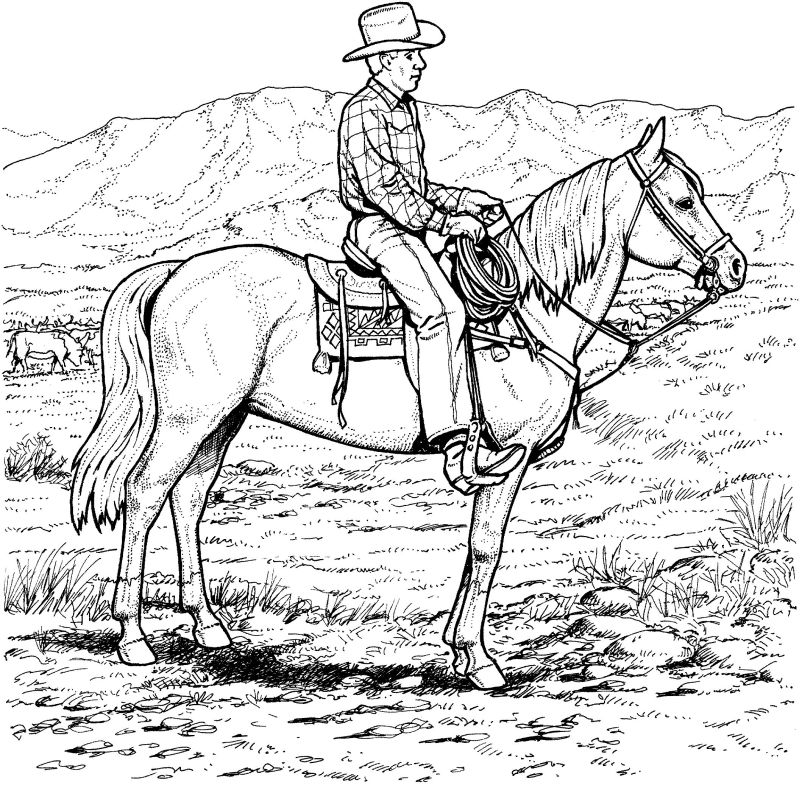 coloring cowboy book pages-#32