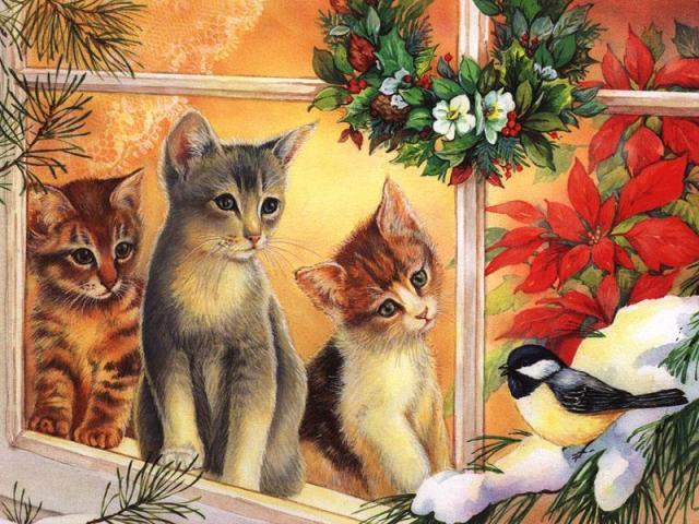 free christmas kitten clipart - photo #37