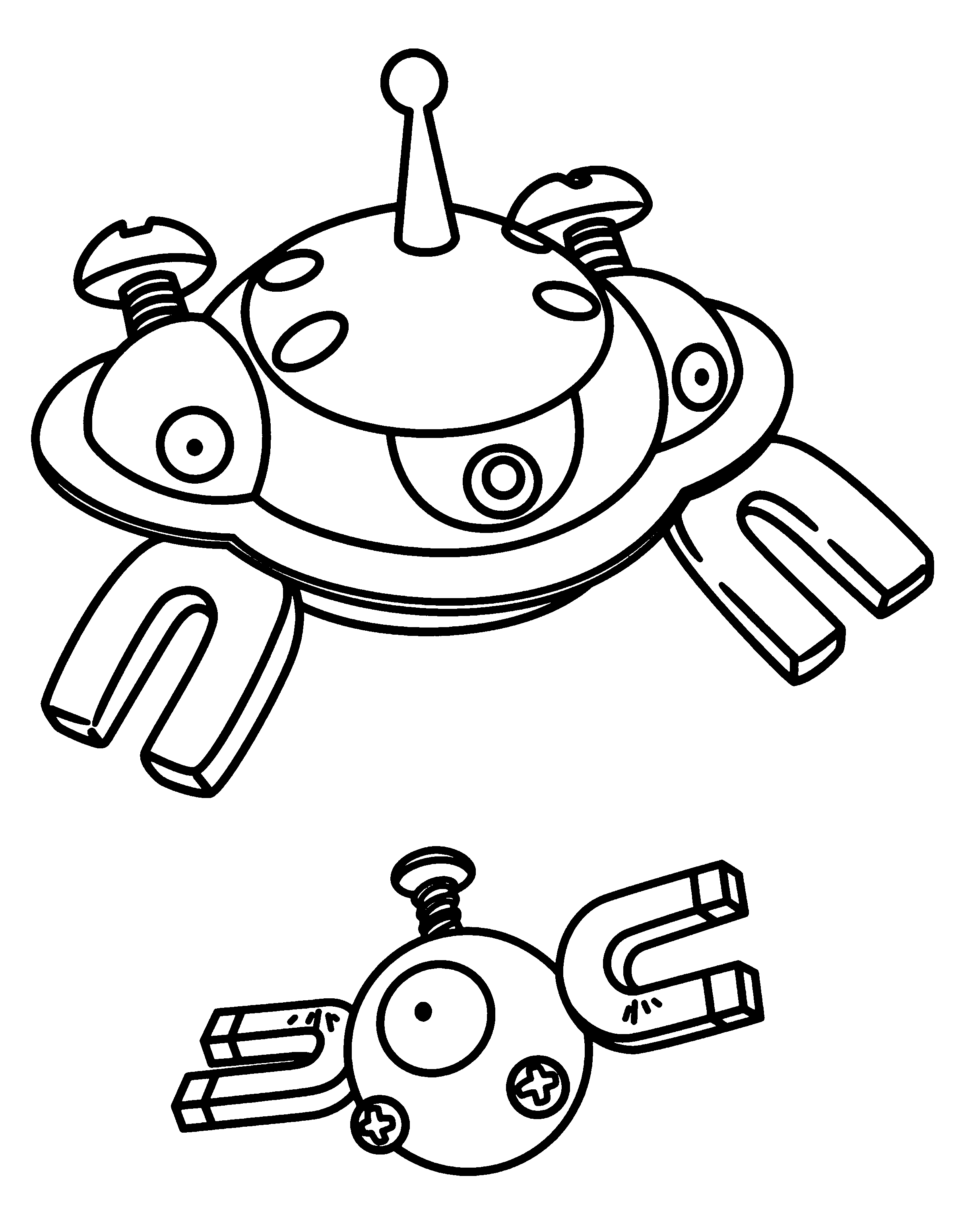 Pokemon coloring pages helioptile - Magneton Pokemon Coloring Pages Sketch Templates